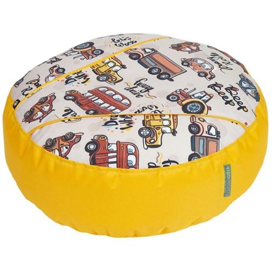 Пуфик детский Машинки желтый 55*25 - фото 4536