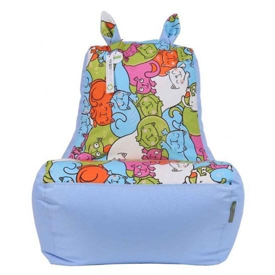Детское кресло-ушастик Кошки голубой XL - фото 4797
