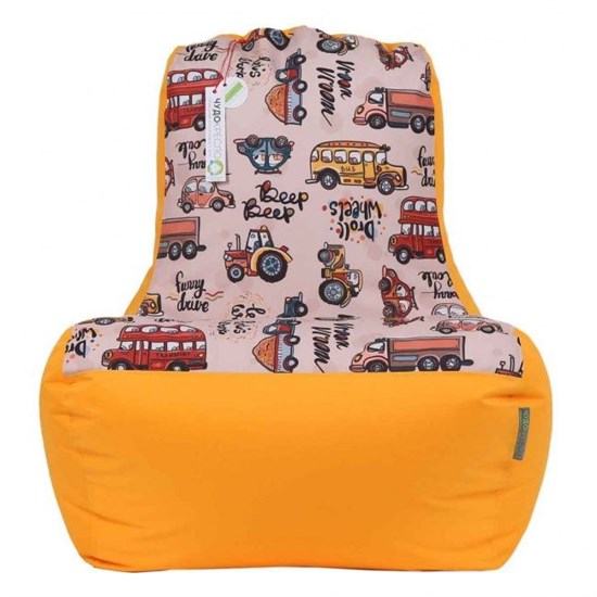 Кресло-ушастик Машинки желтый XL - фото 4804