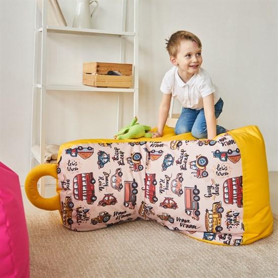Детское кресло-ушастик Машинки желтые XL - фото 5586