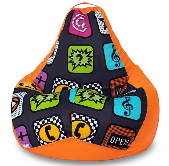 Кресло-мешок-груша Смайлы оранжевый XXL - фото 5744