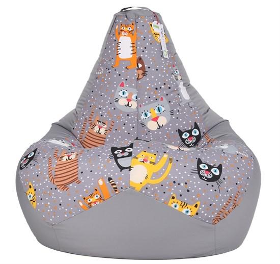 Кресло-мешок-груша Крейзи Кот серый XL - фото 5777