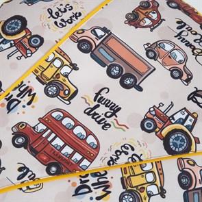 Пуфик детский Машинки желтый 55*25 - фото 4967