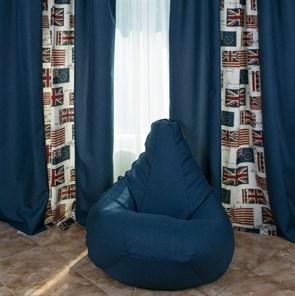 Кресло-мешок-груша из Жаккарда синий XXL - фото 5071