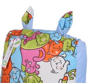 Детское кресло-ушастик Кошки голубой XL - фото 5427