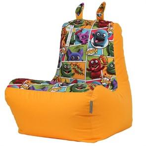 Кресло детское-ушастик Монстры оранжевый XL - фото 5430