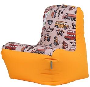 Детское кресло-ушастик Машинки желтые XL - фото 5448