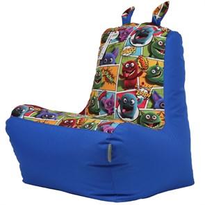 Кресло детское-ушастик Монстры синий XL - фото 5455