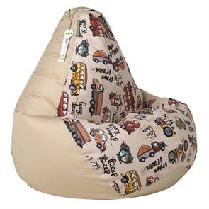 Кресло-мешок-груша Машинки бежевые размер L - фото 5498