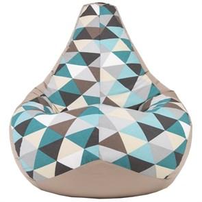 Кресло-мешок-груша Ромбы бежевый XL