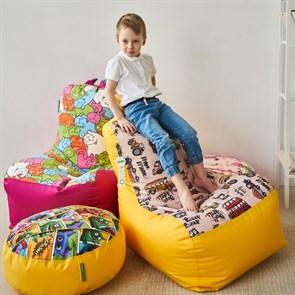 Детское кресло-ушастик Машинки желтые XL - фото 5588