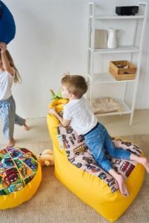 Детское кресло-ушастик Машинки желтые XL - фото 5589