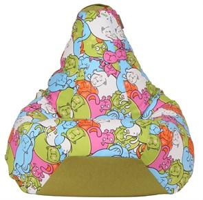 Кресло-мешок-груша Кошки Микс Зеленый XXL - фото 5706