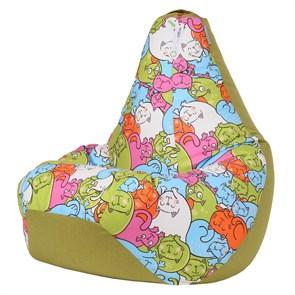 Кресло-мешок-груша Кошки Микс Зеленый XXL - фото 5707