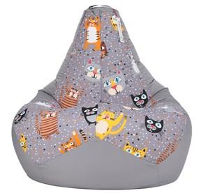 Кресло-мешок-груша Крейзи Кот серый XL