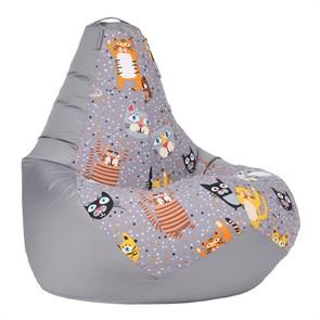 Кресло-мешок-груша Крейзи Кот серый XL - фото 5778