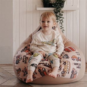Кресло-мешок-груша Машинки бежевые размер L - фото 5796
