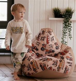 Кресло-мешок-груша Машинки бежевые размер L - фото 5797